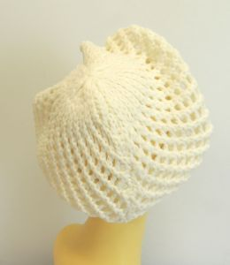 New Ladies Ivory 1940's WWll Vintage style Crochet Beret, Snood, Beanie,Slouch Hat (1) (3)